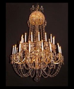 Louis XVI Two Tiered Bronze Chandelier