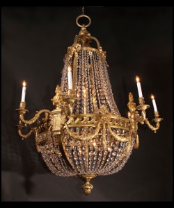Three Bronze & Crystal Empire Chandeliers