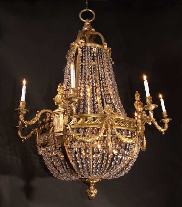 Pair of bronze crystal empire chandeliers french for Empire antiques new orleans