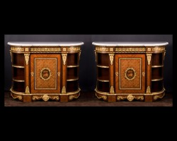 Pair of Napoleon III Cabinets Signed by  &quot;Paul Sormani&quot;