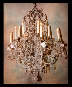 19th century iron and crystal chandelier