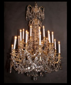 Louis XVI Bronze d'ore and Baccarat Crystal Chandelier