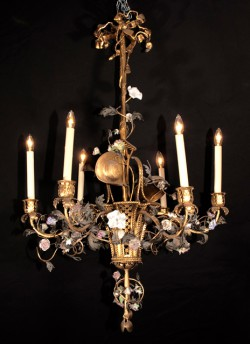 "Louis XVI Bronze ""Basket"" Chandelier"