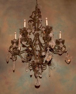 6713~Italian wrought iron rock crystal chandelier