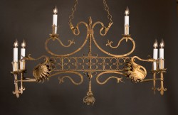 Mythical Phoenix Gilded Iron Chandelier