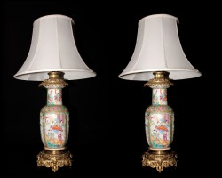 Rose Medallion Baluster Shaped Lamps (FrontPair)
