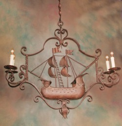 19th century iron chandelier