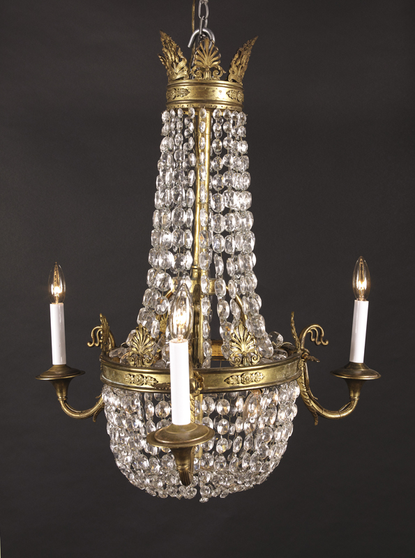 Small late 19th century French bronze and crystal 3 light Empire chandelier  draped with crystal beads - Empire Chandelier French Antique Shop