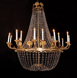Empire Bronze & Crystal Chandelier
