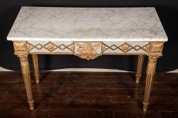 French 18th century Louis XVI Carved Painted and Gold Leaf Console
