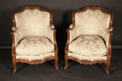 Pair of French 18th century Louis XV Walnut Fireside Bergeres