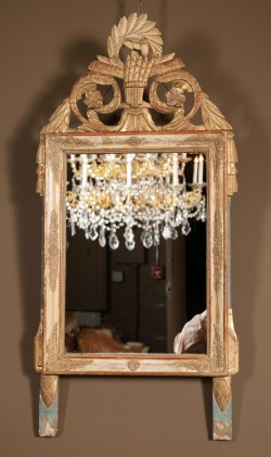 French Early 19th Century Louis XVI Carved Gold Leaf and Painted Mirror
