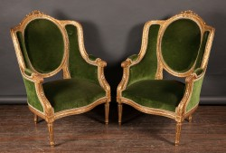 Pair of French 19th Century Louis XVI Carved Gold Leaf Begeres