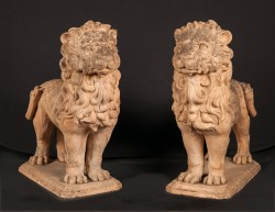 Beautiful Pair of French 19th Century Standing Terra Cotta Lions