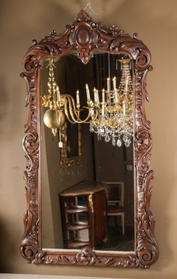 French 19th century Regence Elaborately Carved Walnut Mirror