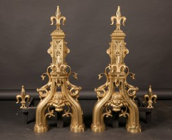 Pair of French 18th century French Louis XVI Bronze Chenets