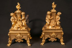 Pair of French 19th Century Regence Beautifully Chased Bronze D'ore Chenets