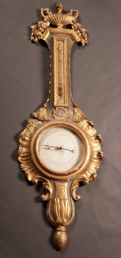 French 18th Century Carved Gold Leaf Barometer