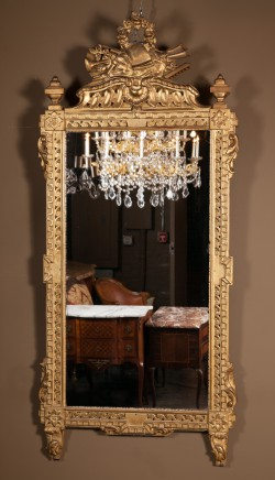 French 18th Century Louis XVI Carved Gold Leaf Mirror