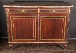 "French 19th Century Louis XVI Marble Top Mahogany Buffet Signed ""Henry Dasson, 1882"""