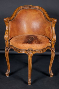 French 19th Century Louis XV Carved Walnut Desk Chair