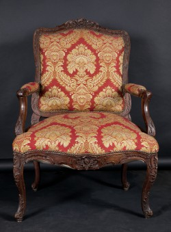 French 19th Century Louis XV Carved Walnut Armchair