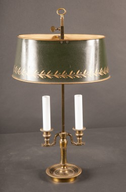 1 French 19th Century Bronze Two Light Bronze Boulliotte Lamp
