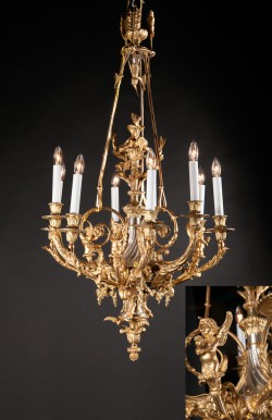 Exquisite French 19th Century Louis XVI Bronze D'ore and Silver Chandelier