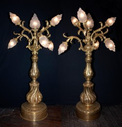 Pair of Late 19th Century Bronze D'ore Torcheres