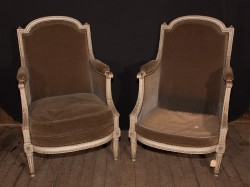 Pair of French 19th Century Louis XVI Painted Bergeres