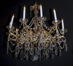 French Post-War bronze & crystal chandelier
