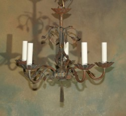 Italian Iron and Tole Chandelier