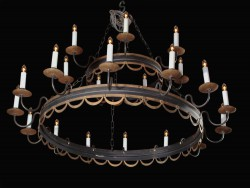 Large Italian 20th Century Directoire Tole Chandelier