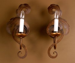 Pair of Italian Louis XV Style burnished Tole Sconces