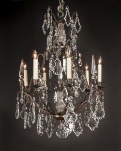 French Louis XV style bronze and crystal chandelier