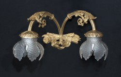 French early 20th century Louis XVI bronze 2 branch sconce