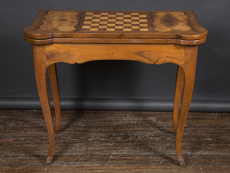French 18th Century Louis XV Fruitwood Game Table With Inlaid Checker Board  Top That Flips Open To Reveal Green Felt Playing Surface. Signed U201cHacheu201d.
