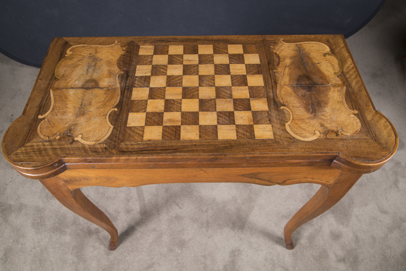 Superbe French 18th Century Louis XV Fruitwood Game Table With Inlaid Checker Board  Top That Flips Open To Reveal Green Felt Playing Surface. Signed U201cHacheu201d.
