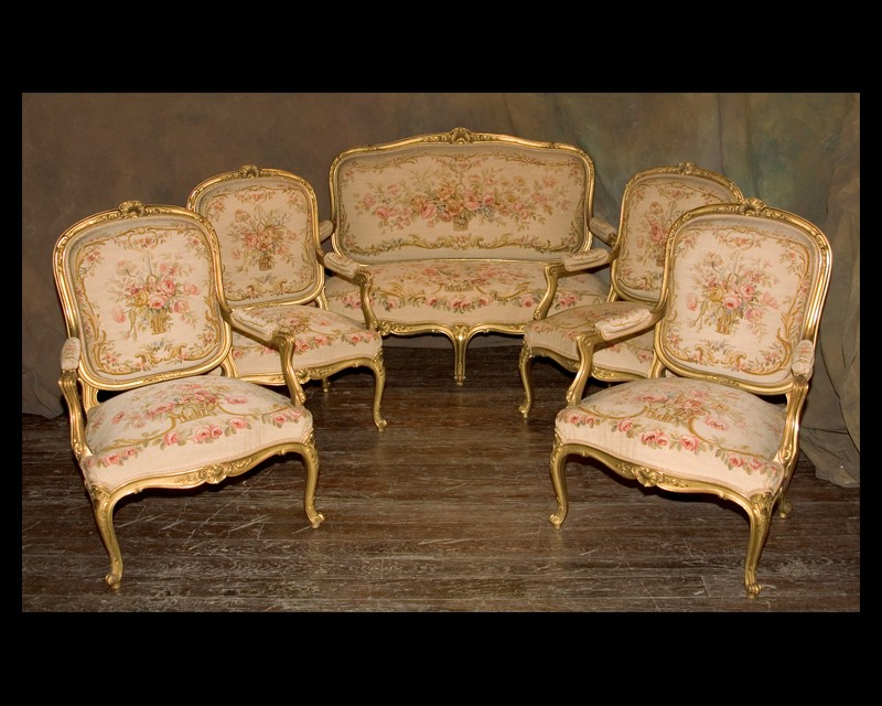 Louis XV 5 Piece Salon Set | French Antique Shop
