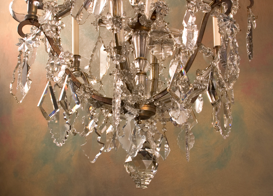 Louis xv marie therese chandelier french antique shop french 19th century louis xv marie therese bronze and crystal chandelier draped with crystal baguettes on alternating arms aloadofball Gallery