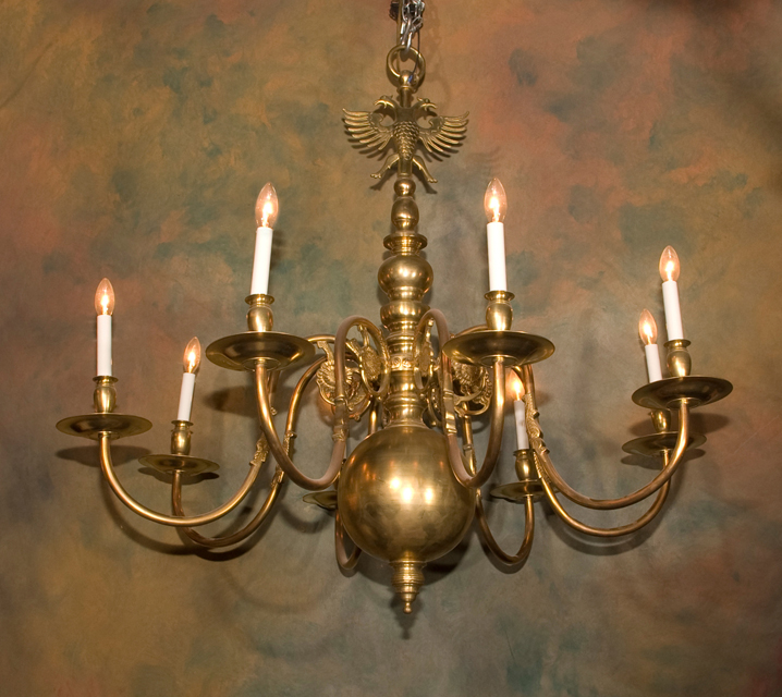 Brass Flemish Chandelier By French Antiques