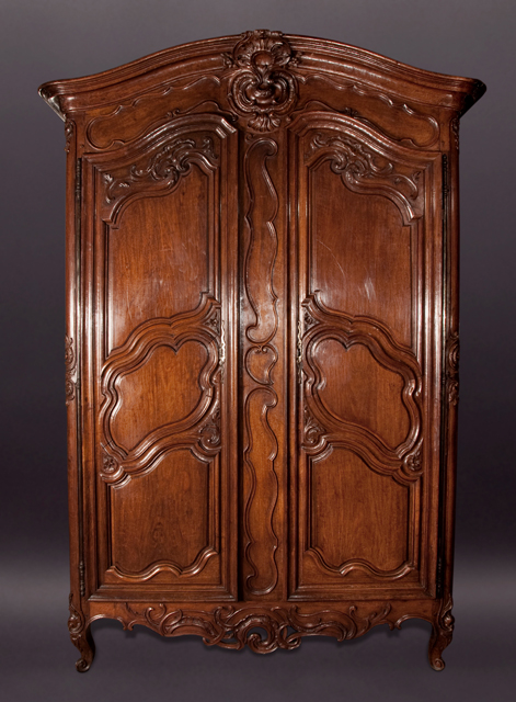 Louis xv walnut armoire french antique shop for Miroir louis xv
