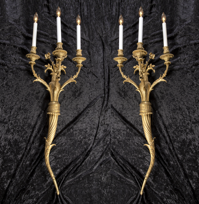 Pair Of French 19th Century Bronze Sconces