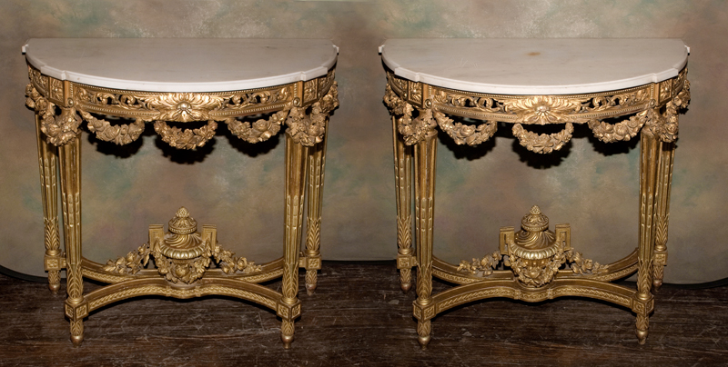 "Pair of Louis XVI Consoles Stamped ""Krieger"" 