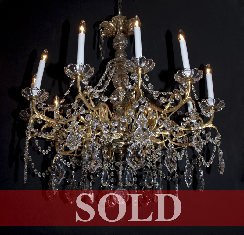 French post war bronze crystal chandelier french antique shop french post war bronze chandelier with crystal bobeches center and solid ball with lapidary cut at bottom gracefully draped with crystal ropes and aloadofball Choice Image