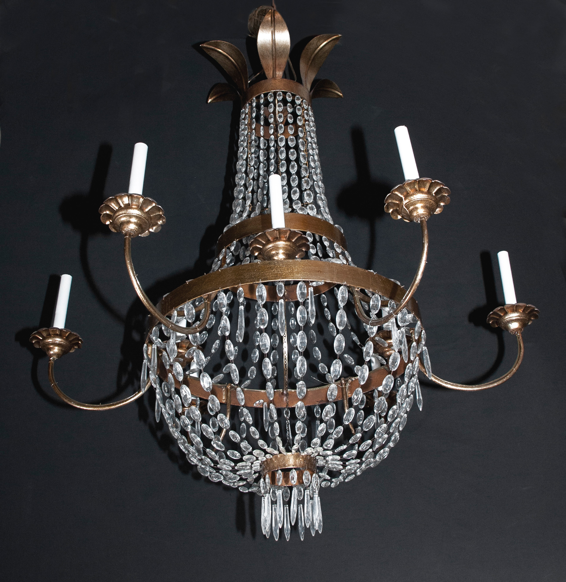 Italian iron tole and crystal empire chandelier french antique shop italian iron tole and crystal empire chandelier mozeypictures