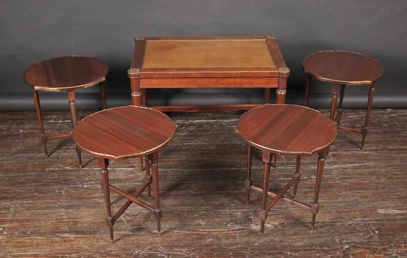 Table: 7u2033 Long X 17 3/4u2033 Deep X 19 1/2u2033 Tall. Nesting Tables: 14 1/2u2033  Diameter X 16 1/2u2033 Tall