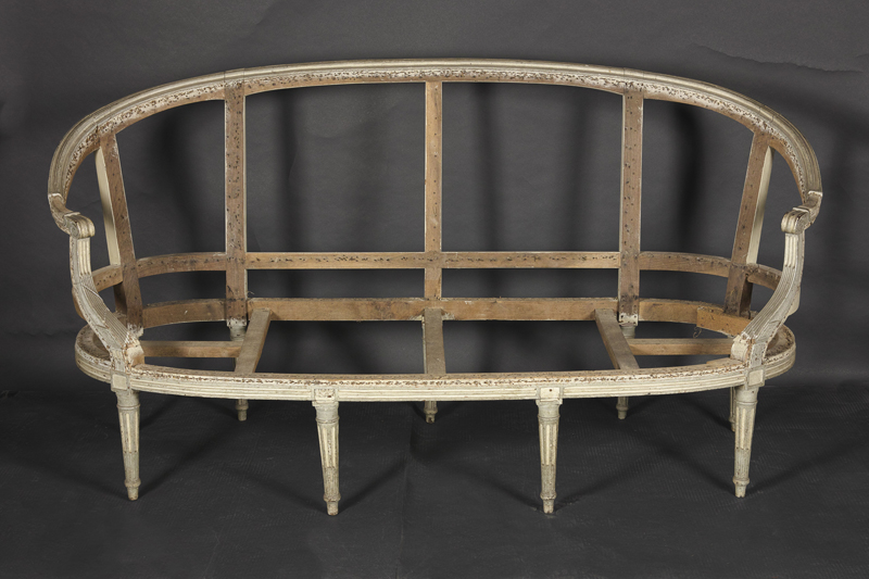 French 19th Century Louis XVI Carved U0026 Painted Sofa Frame (canape A  Corbeille)