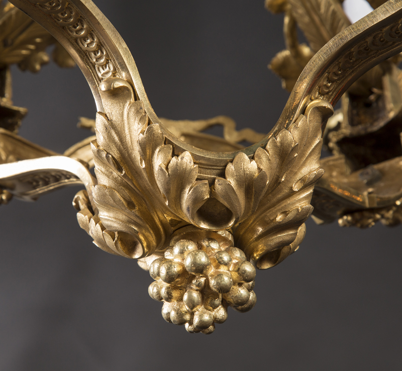 French 19th Century Louis Xvi Bronze Chandelier Decorated With Bacchus Motifs