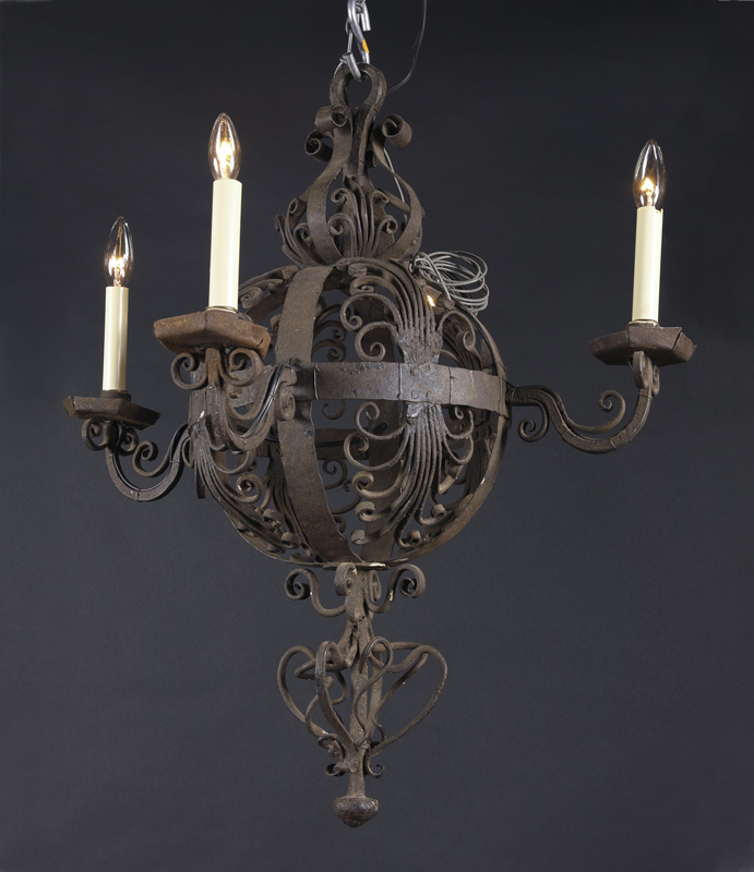 19th century wrought iron chandelier french antique shop small italian 19th century spherical wrought iron chandelier aloadofball Images